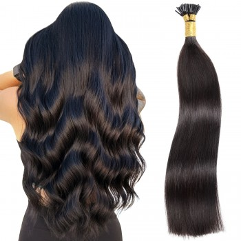 "14"" Nail Tip / U-Tip Pre-bonded Remy Human Hair Extensions - Off/Natural Black (#1B)"
